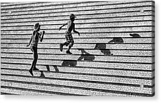 On The Stairs . Acrylic Print by Juan Luis Duran