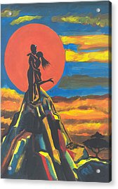 On The Summit Of Love Acrylic Print by Emmanuel Baliyanga