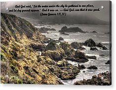 On The Third Day God Separated The Water From The Land - Genesis 1. 9-10 Acrylic Print