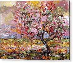 Acrylic Print featuring the painting On The Way To Grandma There Is A Tree I Love Spring by Ginette Callaway