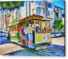 On Tram In San Francisco Acrylic Print by Yury Malkov