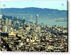 On Twin Peaks Over Looking The City By The Bay Acrylic Print by Jim Fitzpatrick
