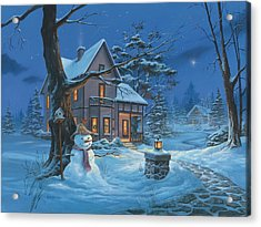 Acrylic Print featuring the painting Once Upon A Winter's Night by Michael Humphries