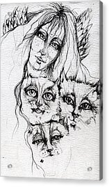 One Angel Three Cats Acrylic Print by Angel  Tarantella
