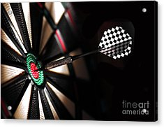 One Arrow In The Centre Of A Dart Board Acrylic Print by Michal Bednarek