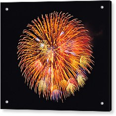 One Big Circle Of Fireworks With Black Acrylic Print by Panoramic Images