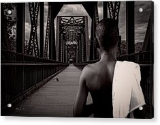 One Boy One Pigeon One Bridge Acrylic Print by Bob Orsillo