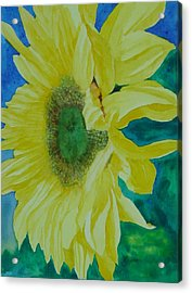 One Bright Sunflower Colorful Original Art Floral Flowers Artist K. Joann Russell Decor Art  Acrylic Print