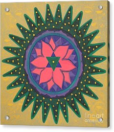 Acrylic Print featuring the painting One Gold Bindu by Mini Arora