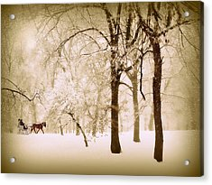 One Horse Open Sleigh Acrylic Print by Jessica Jenney
