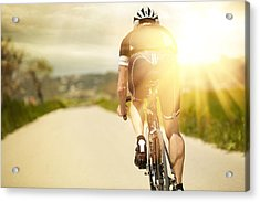One Man And His Bicycle Acrylic Print by Sohl