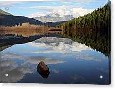 One Mile Lake One Rock Reflection Pemberton B.c Canada Acrylic Print by Pierre Leclerc Photography