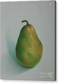 Acrylic Print featuring the painting One Of A Pear by Pamela Clements