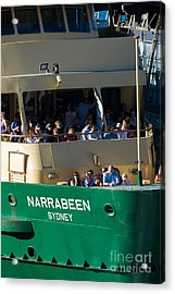 One Of The Iconic Manly Ferries Arrives At Circular Quay In Sydney Full Of Happy Tourists Acrylic Print