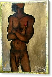 Acrylic Print featuring the painting One Of The Three Wise Men - Male Nude by Carolyn Weltman