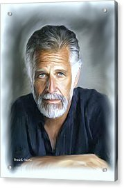 One Of The World's Most Interesting Man - In Oil Acrylic Print by Angela A Stanton