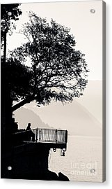 One Old Man Sitting In Shade Of Tree Overlooking Lake Como Acrylic Print