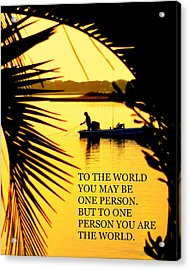 One Person Acrylic Print by Karen Wiles