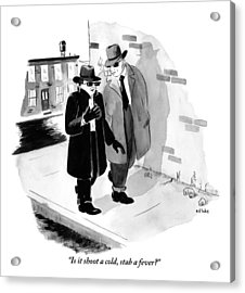 One Shady-looking Man Wearing A Black Overcoat Acrylic Print by Emily Flake