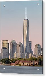 One World Trade Center And Ellis Island Acrylic Print by Susan Candelario
