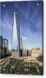 One World Trade Center Reflecting Pools Acrylic Print by Susan Candelario