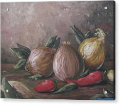 Acrylic Print featuring the painting Onions And Peppers by Megan Walsh