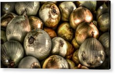 Onions Acrylic Print by David Morefield