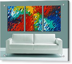Only Till Eternity Hung As A Triptych By Sharon Cummings Acrylic Print by Sharon Cummings