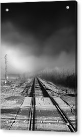 Onward - Railroad Tracks - Fog Acrylic Print