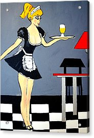 Acrylic Print featuring the painting Ooolala French Maid  by Nora Shepley