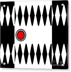 Op Art Black White Red Minimalist Geometric Abstract Print No.277 Acrylic Print by Drinka Mercep