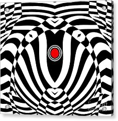 Op Art Geometric Black White Red  Abstract No.383. Acrylic Print by Drinka Mercep