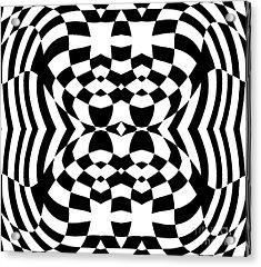 Op Art Geometric Pattern Black White Print No.230. Acrylic Print by Drinka Mercep