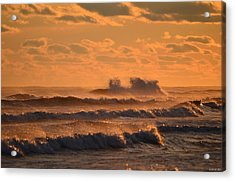 Acrylic Print featuring the photograph Opal Beach Sunset Colors With Huge Waves by Jeff at JSJ Photography