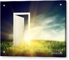 Open Door On The Green Field Acrylic Print by Michal Bednarek