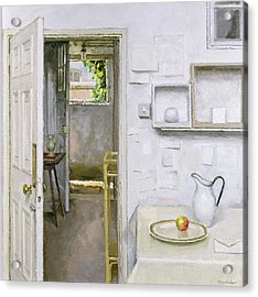 Open Doors With Still Life And Letter, 2004 Oil On Canvas Acrylic Print by Charles E. Hardaker