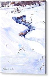 Open Stream In Winter Acrylic Print