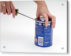 Opening A Can With A Lever Acrylic Print
