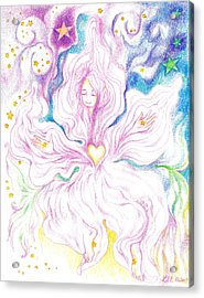 Opening And Blossoming   Dreaming The World Into Being   As She Dances In The Stars Acrylic Print