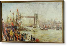 Opening Of Tower Bridge, 1894 Oil On Canvas Acrylic Print by William Lionel Wyllie