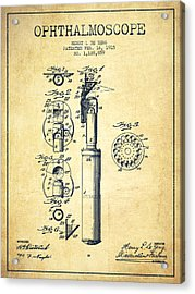 Ophthalmoscope Patent From 1915 - Vintage Acrylic Print by Aged Pixel