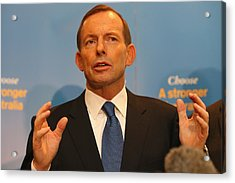 Opposition Leader Tony Abbott Unveils Coalition Border Protection Policy Acrylic Print by Chris Hyde