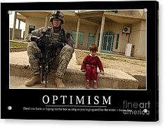 Optimism Inspirational Quote Acrylic Print by Stocktrek Images
