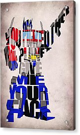 Optimus Prime Acrylic Print by Ayse and Deniz