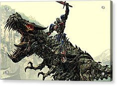 Optimus Prime Riding Grimlock Acrylic Print