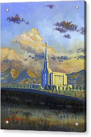 Oquirrh Mountain Temple Acrylic Print by Jeff Brimley