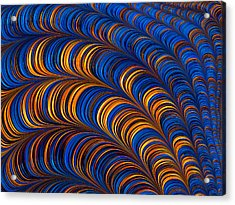 Orange And Blue Abstract Pattern Acrylic Print by Matthias Hauser