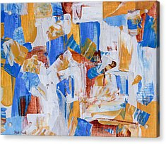 Acrylic Print featuring the painting Orange And Blue by Heidi Smith