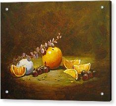 Orange And Egg Acrylic Print by Carol Hart