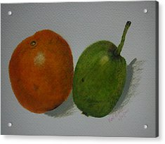 Orange And Pear Acrylic Print by Kat Poon